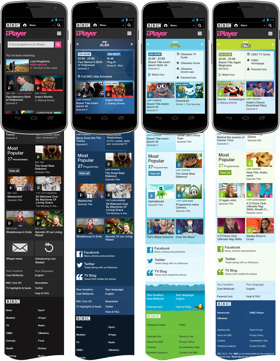 iPlayer Channels mobile homepages