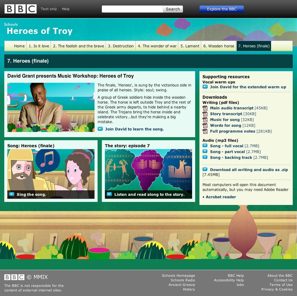 BBC Heroes of Troy Sub-Index page