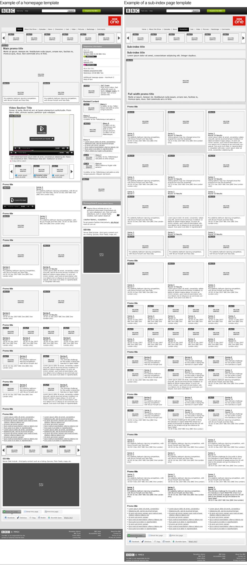 BBC programmes templates