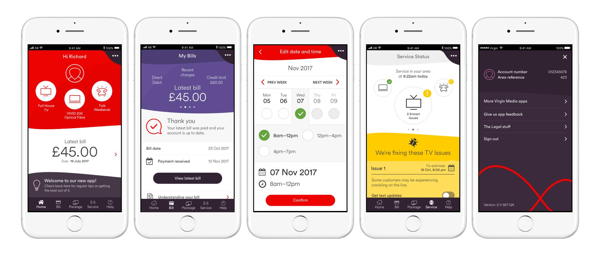 MyVM app screens
